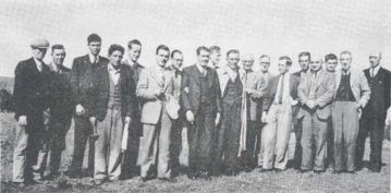 Bansha rural employees, 1948 (L-R): T Drennan; J Nolan; C Clune; M Whyte; J Dillon; T Costello, C O'Reilly; J Bergin; R Dowd; P Grace; J King (Alcan); B Lanigan; S Nolan; [unknown]; J Kelly; S Gibson; J Ware; and PG Collier.