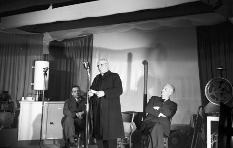 Switching on ceremony, Ballinamult Creamery. Sean Lemass, Minister for Industry and Commerce, Fr. Walsh, Parish Priest and RF Browne, Chairman, ESB, 1 March 1954