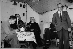 Speech by J.F. Bourke REO at the switch on ceremony in Rhode, Co. Offaly in 1953. Local journalist taking notes of the speech