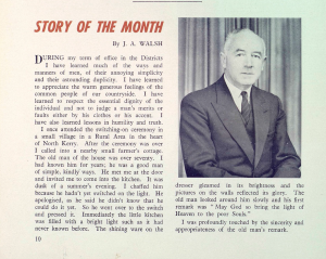 J.A. Walsh anecdote. ESB Journal January 1959