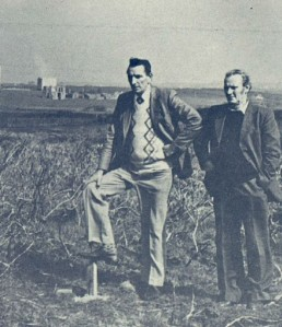 Gerry Hillery, General Supervisor and Paddy Ryan, Station Staff, with Miltown Malbay Station in the background