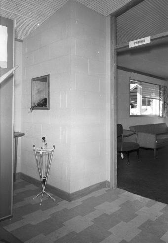 RDS model home, hallway, 7 May 1960