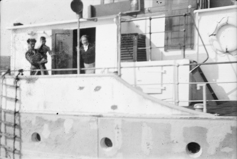 Jerry Corbett's wife and son aboard the MV Whitsun en route to Arranmore Island, Co Donegal, November 1956