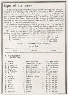 Dublin Electricity Works, staff list