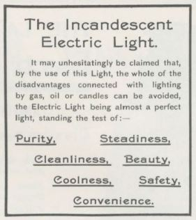 Early 20th century ad explaining benefits of electricity