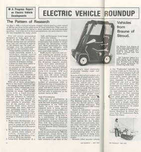 Article on history of electric cars, Prospect, May 1978
