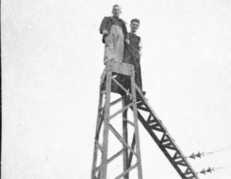 The days before health and safety! Jerry Corbett pictured on the right